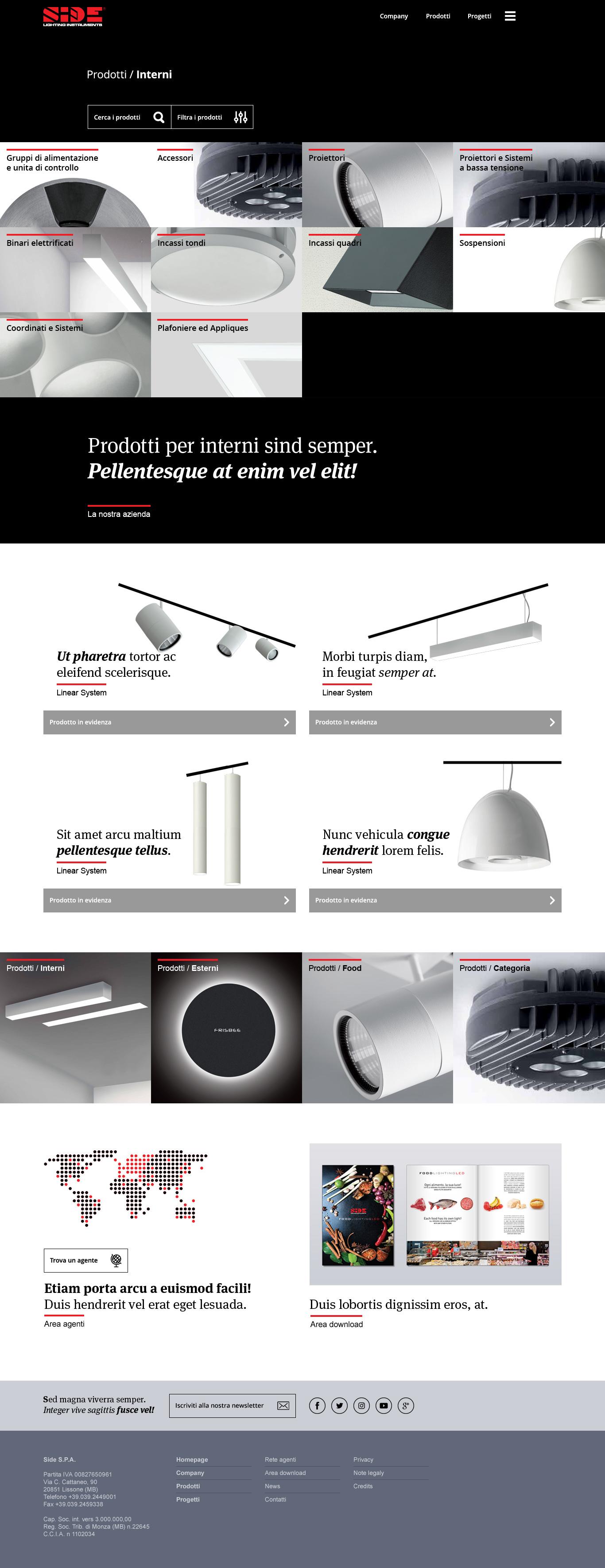sidespa.it homepage layout