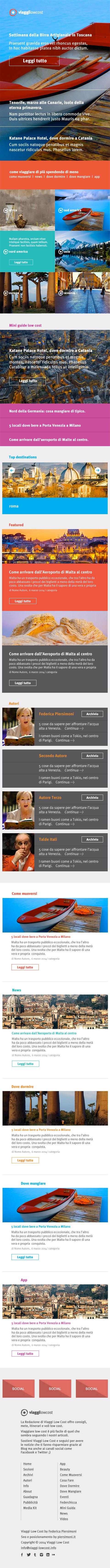 viaggi-lowcost.info homepage page layout