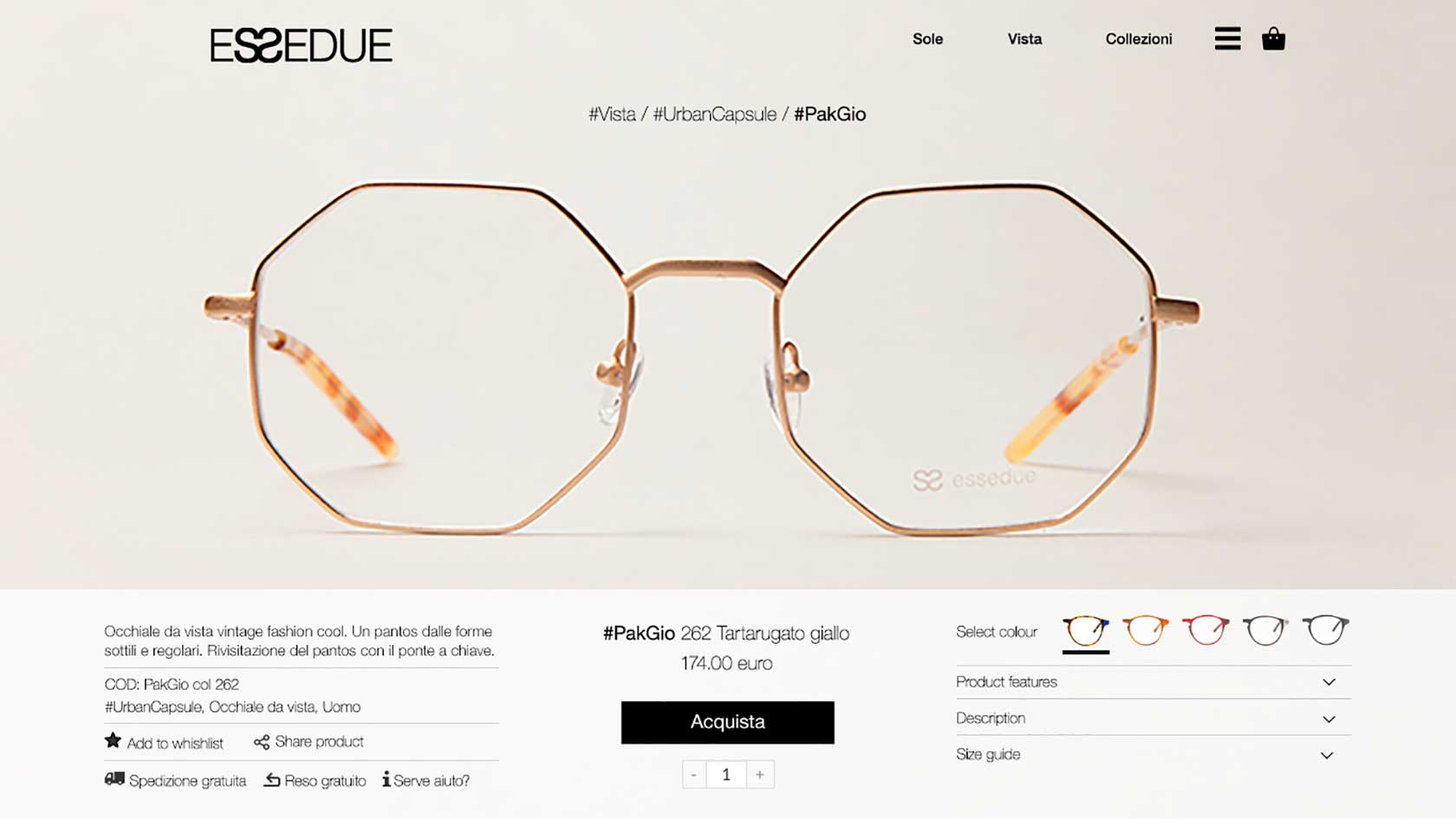 esseduesunglasses.com product page screenshot
