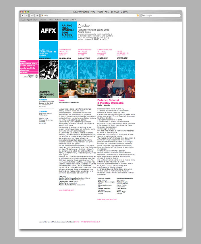 Ariano Folk Festival 2005. Poster.