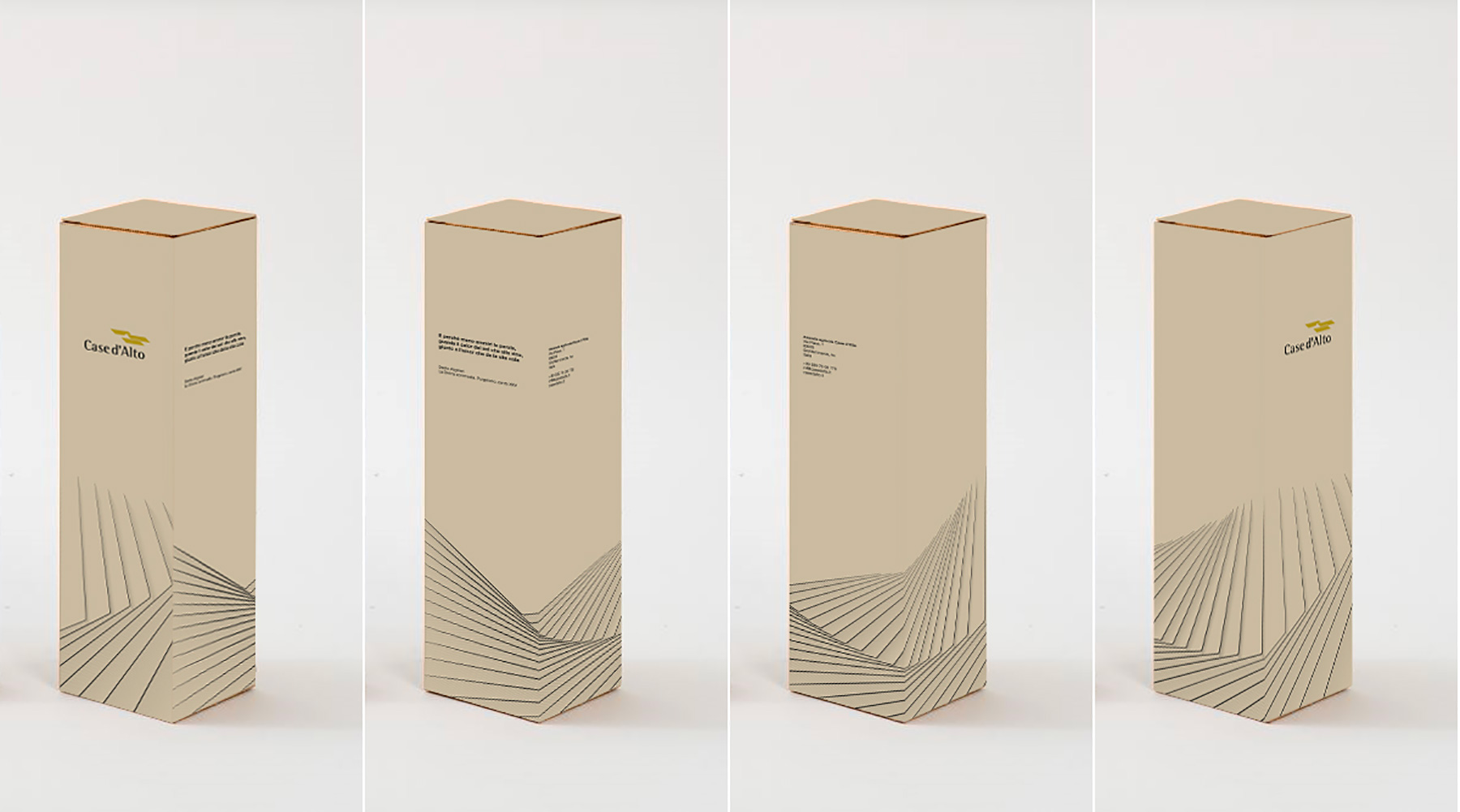 Case d'alto. Wine bottle carton box design, mockup