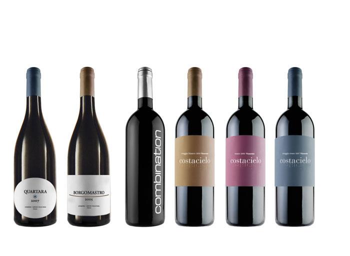 Lunarossa. Wine bottles design.